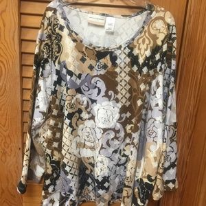Alfred Dunner 3/4 Sleeve Brown/Black/White Top 3X